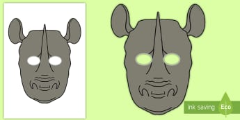 Rhino Role Play Mask - africa, safari, animals, zoo, Rhinoceros,
