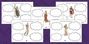 Ancient Greek Gods Mind Map Worksheets - ancient greece, greek gods, greeks