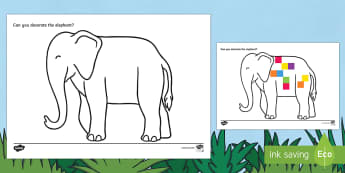 Elephant Outline Computing Activity - EYFS, Early Years, KS1, Elmer, David McKee, colour, computing, ICT, Understanding the World, Paint,