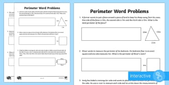 Y3 Perimeter Word Problems Go Respond Activity Sheet -  LKS2, calculate, perimeter, perimiter, word problems, y3 maths, year 3 maths, worksheet, interactiv