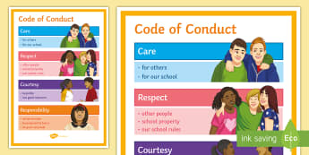 Code of Conduct A4 Display Poster - Code of conduct, behaviour, care, courtesy, polite, manners, poster