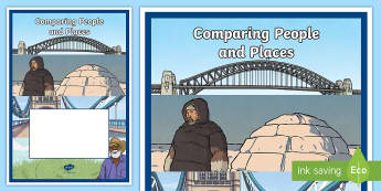 Comparing People and Places Book Cover - folder cover, topic, title, illustration, geography, cultures, label