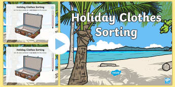 Holiday Clothes Sorting Flipchart - English Medium - Welsh Language Pattern Themed Resources, welsh, Wales, Sorting, digital competence, maths