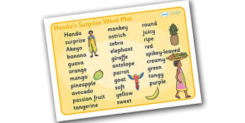 Handa's Surprise Word Mat (Text) - Handa's Surprise, Eileen Browne, resources, Handa, Akeyo, mango, guava, Africa, avacado, passion fruit, monkey, African animals, story, story book, story book resources, story sequencing, story resources, word mat,