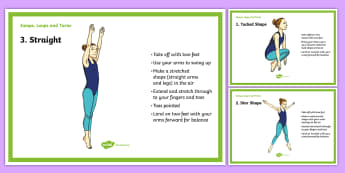 Jumps, Leaps and Turns Gymnastics Cards - Y3, Y4, Y5, Y6, KS2, gymnastics, jumps, leaps, turns, tuck, tucked, star, straight, half turn, pike,