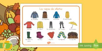Tapiz de vocabulario: La ropa de otoño - palabras, estaciones, estación, vestimento, ,Spanish