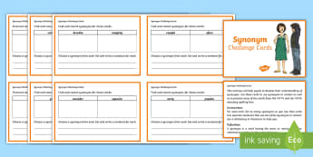 KS2 Synonym Task Challenge Cards - KS2, Key Stage Two, Key Stage 2, Vocabulary, grammar and punctuation, word, learn the grammar from Y