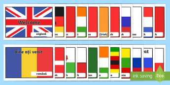 Mesaje de bun venit pe steagurile diferitelor țări Planșe - septembrie, început de an școlar, revenirea la școală, internațional, adaptare la școală,Roma