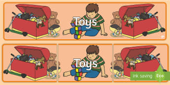Toys Display Banner - Toys display, banner, poster, Toy, robot, doll, skateboard, games console, dice, jigsaw, games, dominos, marbles, pogo, Jack in the box, diabolo, jacks, pop gun, skittles, spinning top
