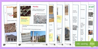Rocks and Soils Fact Pages - rocks, stone, rocks and soils, soil, fact sheet, fact pages, facts, geography, granite, marble, sand, chalk, clay, did you know, rock types, igneous, metamorphic, sedimentary
