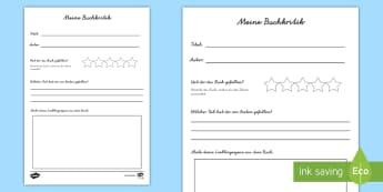 Buchkritik Schreibvorlage - Lesen, Schreiben, Lektüre, Bücher, Buchrezension, Druckschrift, Schreibschrift, ,German