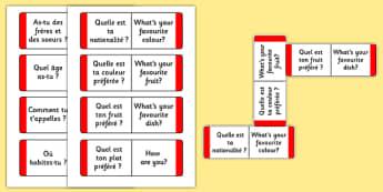Questions simples en français - jeu de cartes - french, questions simples, questions de base, conversation, A1