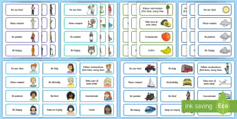 KS1 Themed Class Charter Cards Display Pack - rules, behaviour, teacher organisation, topics, back to school