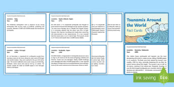Tsunamis Around the World Fact Cards - tsunami, tidal waves, ACSSU096, year 6 science, grade 6 science,  geological events, earthquakes, ge