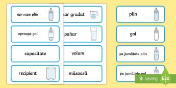Vocabular despre capacitate Cartonașe cu cuvinte - unități de măsură, măsoară, cm, m, km, lungime, mai mare, mai mic, compară, ordonează după