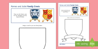 Romeo and Juliet: Family Crest Activity Sheet  - Secondary, SEN, lower ability resources