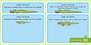 Crocodile Longer and Shorter Playdough Mats - crocodile, longer, shorter, playdough mat, playdough, activity