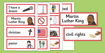 Martin Luther King Word Cards - martin luther king, words, cards