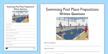 Swimming Pool Place Prepositions Written Questions - place prepositions, swimming pool