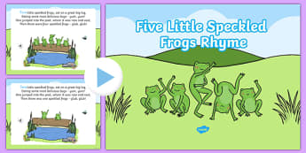 5 Little Speckled Frogs Counting PowerPoint - 5 little speckled frogs, counting, powerpoint, counting rhyme, speckled frogs