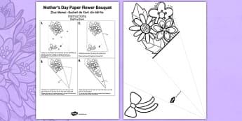 Mother's Day Paper Flower Bouquet Romanian Translation - romanian, bouquet, mothers day, paper