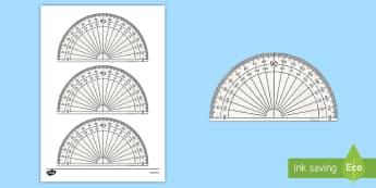 Utensilio matemático: Transportador - transportador, imprimible, imprimir, mates, matemáticas, utensilio, herramienta,Spanish