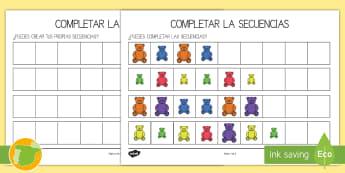 Ficha de actividad: Completar las secuencias - Osos - secuenciar, secuencias, ordenar, dibujar, colorear, colores, mates, matemáticas, osos, ositos, pelu