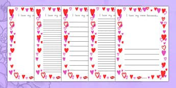Mother's Day I Love My Mom Because - usa, page border, border, frame, writing frame, writing template, mothers day, mothers day page borders, i love my mum borders, i love my mum writing frame, mothers day writing frame