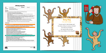 Five Little Monkeys Subtraction Busy Bag Plan and Resource Pack - monkeys, bed, nursery rhyme, jumping, puppets, cut-outs