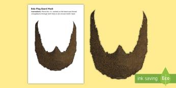 Beard Role Play Mask - Roald Dahl, Mr Twit, The Twits, Mr Twit's Beard, Brown, Cut-out, Facial Hair, costume