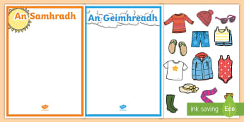 Winter and Summer Clothes Sorting Activity Gaeilge - Irish, Gaeilge. sorting, ag sórtáil, weather, aimsir, éadaí, clothes, winter, geimhreadh, summer, samhradh, infants