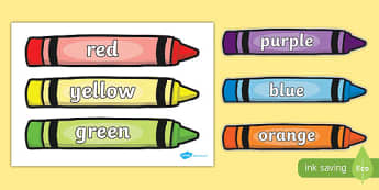 Colour Words on Crayons - Crayon, colour display, colour posters, colour, display, poster, posters, colour mixing, black, white, red, green, blue, yellow, orange, purple, pink, brown