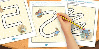 The Tale of Peter Rabbit Pencil Control Path Worksheets - peter