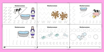 Washerwoman Pencil Control Sheets - mrs wishy washy, washerwoman, pencil control sheets