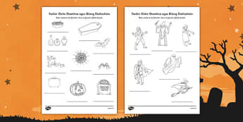 Irish Halloween Dictionary Work Colouring Sheet - roi, irish, republic of ireland, halloween