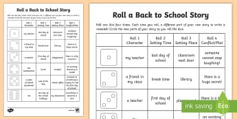 Roll a Back to School Story Storyboard Template - Back to School, story writing, story game, roll a story, games, dice, game, story telling, school st