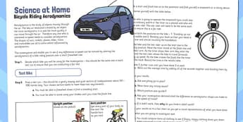 Bicycle Riding Aerodynamics Activity Sheet - activity sheet, bike, worksheet