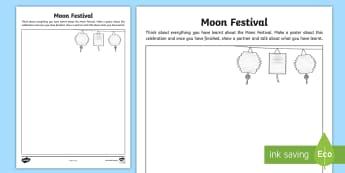 Moon Festival Poster Activity Sheet - ACHASSK065, Celebration, National Holiday, Activity, Assessment,Australia, worksheet