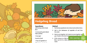 Hedgehog Bread Recipe - cooking, recipe, autumn, eyfs, early years, bread, hedgehog