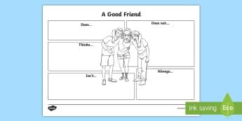 Year 3 Good Friend Activity Sheet - first week back, new school term, all about me, friendship, PSCHE, worksheet
