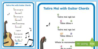 Tutira Mai Song with Guitar Chords A4 Display Poster - Tutira Mai, guitar, music, guitar chords, chords, singing, waiata