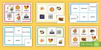 Toamna Bingo - activități de toamnă, comunicare, deczvoltarea vocabularuluii, expoziție, jocuri,Romanian