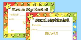 Steaua săptămânii - Diplome - stea, diplome, recompense, materiale didactice, română, romana, material, material