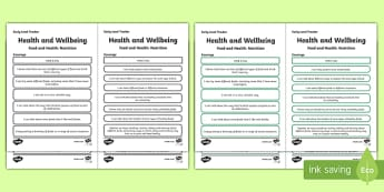 CfE Health and Wellbeing (Food and Health) Early Level Child Friendly Tracking