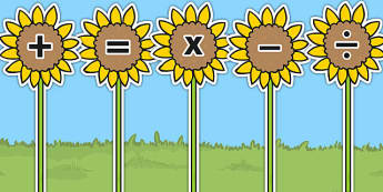 Maths Symbols on Sunflowers - sunflower, maths, symbols, display