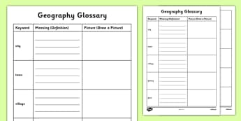 Human Geography KS1 Glossary Activity