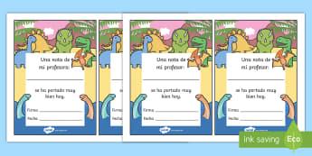 Nota en la agenda para buen comportamiento: Dinosaurios - Dinosaurios, pre-historia, dinos, tiranosaurio, estegosaurio, triceratops, proyectos, aprendizaje ba