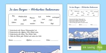 In den Bergen Wortarten bestimmen Arbeitsblatt - Sommer, Jahreszeiten, Berge, Wortarten, Adjektiv, Verb, Nomen, Kl.1/2, summer, seasons, mountains, p