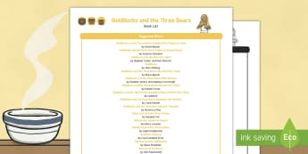 Goldilocks and the Three Bears Book List - EYFS, Early Years, KS1, Goldilocks and the Three Bears, fairytales, traditional stories, bears, porr