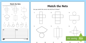 Match the 3D Net Activity Sheet - 3d, net, worksheet, match, sheet